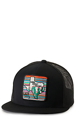 Lazy J Ranch Wear Black with Multi-color Home Sweet Texas Patch Cap
