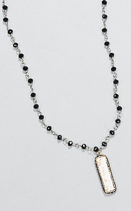Laminin Teepee Black Rondelle Beaded and White Stone Necklace