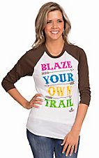 Ali-Dee Collection Women's White Blaze Your Own Trail 3/4 Aztec Raglan Sleeve Casual Knit Top