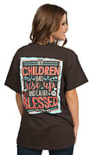 Girlie Girl Originals Women's Chocolate with Her Children Shall Rise Up and Call Her Blessed Screen Print Short Sleeve T-Shirt