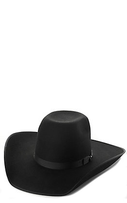 Cavender's Cowboy Collection 3X Black Bull Rider Crown  Premium Wool Cowboy Hat