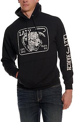Lazy J Ranch Wear Men's Black Elevation Logo Hooded Sweatshirt