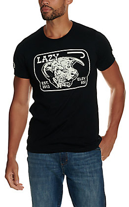 Lazy J Ranchwear Men's Black and White Elevation Graphic Short Sleeve T-Shirt