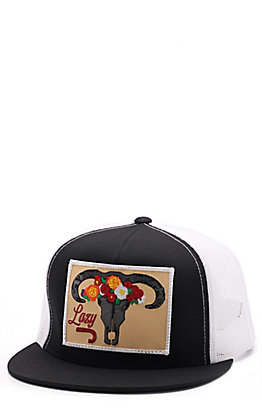 Lazy J Ranch Black & White Floral Skull Patch Cap