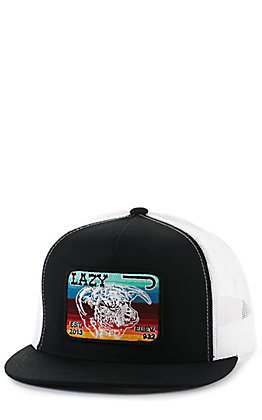 Lazy J Ranch Wear Black and White with Serape Elevation Patch Snapback Cap