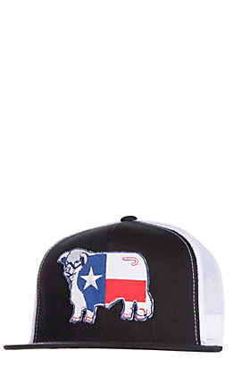 Lazy J Ranchwear Black Texas Flag Elevation Patch Snap Back Cap