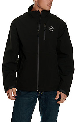 Rafter C Men's Black with Grey Raised Logo Softshell Jacket