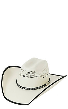 a015e0911e2 Cavender s Ivory Vented with Black Bound Edge Straw Cowboy Hat