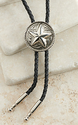 AndWest Antiqued Silver Texas Star and Rope Bolo Tie
