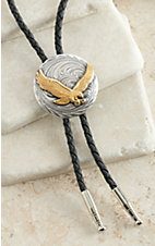 AndWest Antiqued Silver with Gold Soaring Eagle Bolo Tie