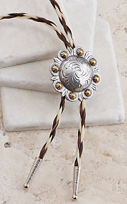 Cowboy Collectibles Two Tone Braided Horse Hair Berry Concho Bolo