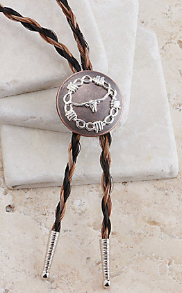 Cowboy Collectibles Two Tone Braided Horse Hair Copper Longhorn Concho Bolo