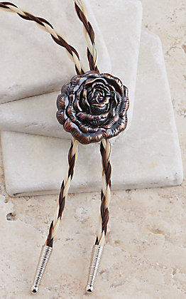 Cowboy Collectibles Two Tone Braided Horse Hair Copper Rose Concho Bolo