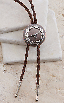 Cowboy Collectibles Sorrel Braided Horse Hair Copper Longhorn Concho Bolo