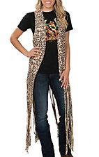 Crazy Train Women's Born to Be Wild Cheetah Print Fringe Vest