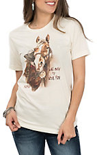 XOXO Art & Co. Cream Born To Love You Graphic S/S T-shirt