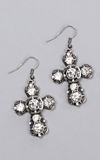 Laminin Bountiful Brushed Silver Cross Earrings