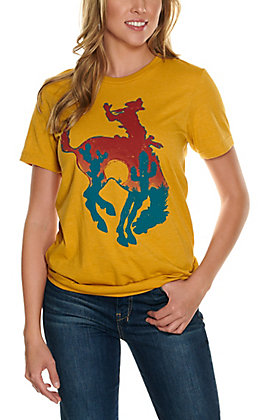 Rowdy Crowd Women's Mustard Bowie Bronc Graphic Short Sleeve T-Shirt