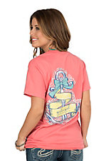 Girlie Girl Originals Women's Coral Bow Tied on a Anchor Screen Print Short Sleeve T-Shirt