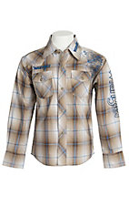 Wrangler Boys Khaki Plaid Logo Embroidery L/S Western Shirt BP1280M