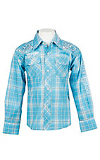 Wrangler Boys Blue Plaid Logo Embroidery Long Sleeve Western Shirt