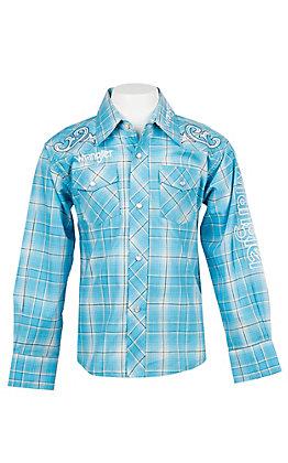 Wrangler Boys Blue Plaid Logo Embroidery Long Sleeve Western Shirt