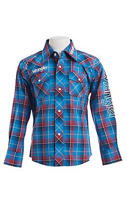 Wrangler Boys Blue Plaid Logo Embroidered Western Snap Shirt
