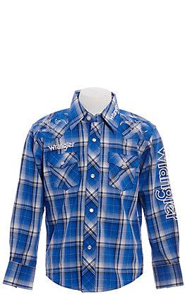 Wrangler Boys' Plaid Logo Long Sleeve Western Shirt