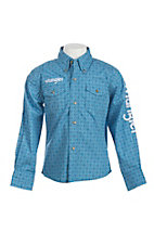 Wrangler Boy's Blue Diamond Print L/S Western Shirt