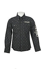 Wrangler Boy's Black Logo Skull Long Sleeve Western Shirt