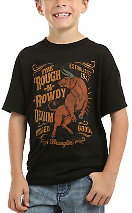 Wrangler Boy's Black Bull Tattooed Graphic Short Sleeve Tee