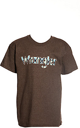 Wrangler Boys' Heather Brown with Checotah Logo Short Sleeve Tee