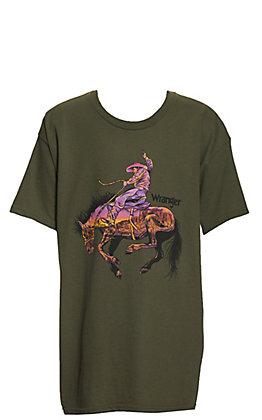 Wrangler Boys' Olive Sunset Desert Bronco Graphic Short Sleeve T-Shirt