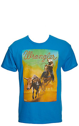Wrangler Boys' Turquoise Bulldogger Graphic Short Sleeve T-Shirt