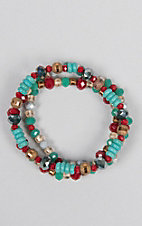 Southern Junkie Turquoise, Red and Cream Multi Beaded Bracelet Set