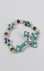 Southern Junkie Brown and Turquoise Beads with Turquoise Crystal Cross Stretch Bracelet