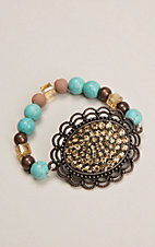 Brown and Turquoise Bracelet with Oval Sparkle Pendant