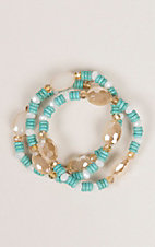 Ashlyn Rose Cream and Turquoise with Gold Beads Stretch Bracelet Set