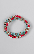 Southern Junkie Red and Turquoise with Gold Beads Stretch Bracelet Set