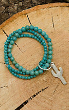 West & Co Turquoise Beaded with Cactus Charm Bracelet