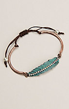 Copper with Patina Feather Adjustable Draw String Bracelet