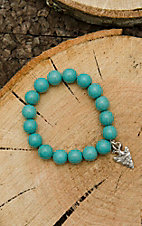 West & Co. Turquoise Beaded with Silver Arrow Charm Stretch Bracelet