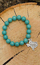 West & Co. Turquoise Beaded with Silver Texas Charm Stretch Bracelet