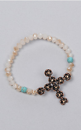 Southern Junkie Pearl and Turquoise Cross Bracelet