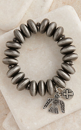 West & Co Silver Faux Navajo Pearl Beads with a Thunderbird Charm Stretch Bracelet