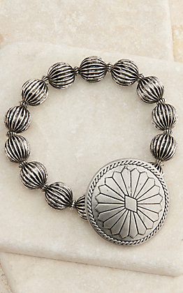 West & Co Silver Melon Beads with Concho Stretch Bracelet