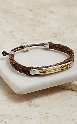 Cowboy Collectibles Braided Cinnamon Horse Hair With Arrow Concho Bracelet