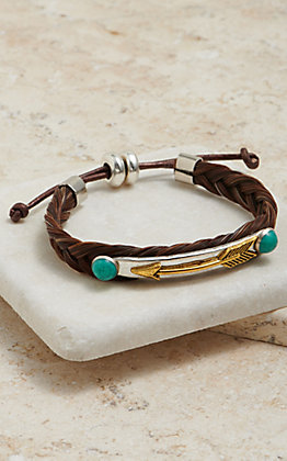 Cowboy Collectibles Braided Horse Hair With Arrow Concho Bracelet
