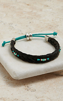 Cowboy Collectibles Black Braided Horse Hair With Turquoise And Red Beaded Accents Bracelet