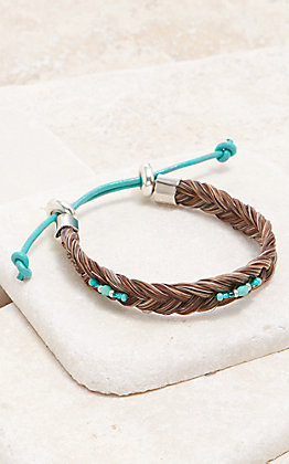 Cowboy Collectibles Granite With Turquoise Beads Braided Horse Hair Bracelet